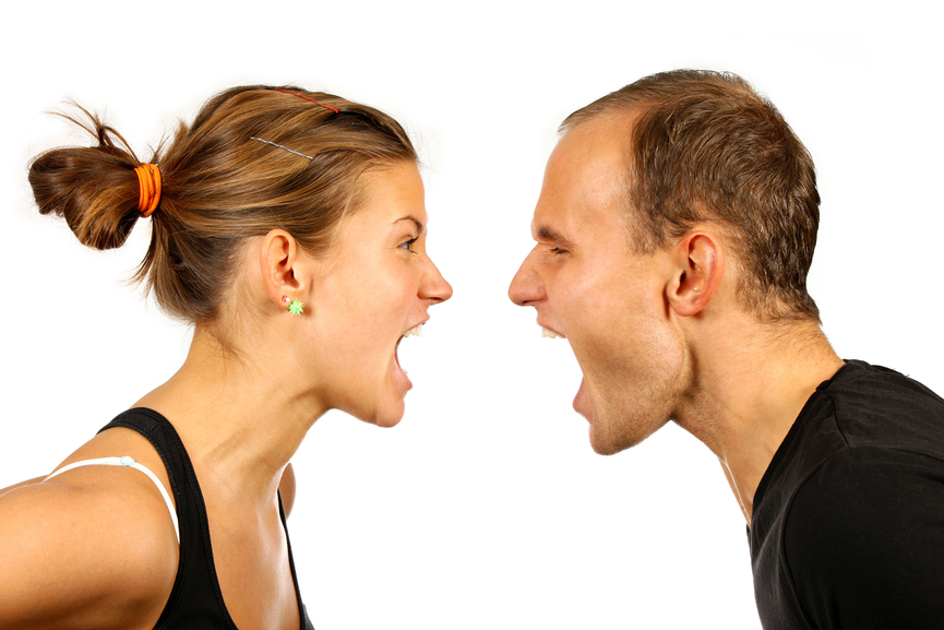 Nice young couple screaming at each other